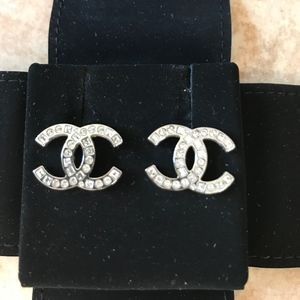 Adorable CHANEL Classic CC Crystal Earrings